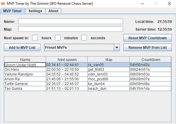 MVP Timer v1 1 4 [Final release] - Ragnarok 1 Community Chat